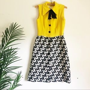 Vintage 1960's mod yellow & black dress & bow tie